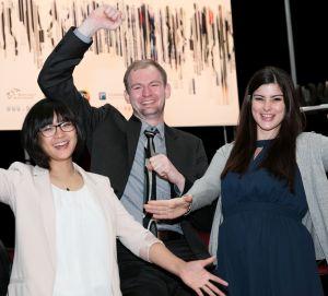 Die INA-Gewinner 2017 (v.r.n.l.): Sina Weimert (Gold), Andreas Koch (Silber) und Anita Wan (Bronze).